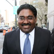 Raj Rajaratnam, the Galleon Group LLC co-founder accused of insider trading, exits federal court in New York, U.S., on Wednesday, April 27, 2011.