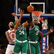 Kevin Garnett #5 of the Boston Celtics and Paul Pierce #34 deflect a shot against the New York Knicks during Game five of the Eastern Conference Quarterfinals of the 2013 NBA Playoffs at Madison Square Garden on May 1, 2013 in New York City. NOTE TO USER: User expressly acknowledges and agrees that, by downloading and or using this photograph, User is consenting to the terms and conditions of the Getty Images License Agreement.
