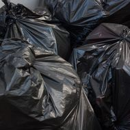 Black garbage bags.