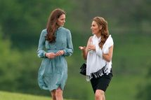 ASCOT, UNITED KINGDOM - MAY 13: (EMBARGOED FOR PUBLICATION IN UK NEWSPAPERS UNTIL 48 HOURS AFTER CREATE DATE AND TIME) Catherine, Duchess of Cambridge (L) attends the Audi Polo Challenge charity polo match, in which Prince William, Duke of Cambridge and Prince Harry competed, at Coworth Park Polo Club on May 13, 2012 in Ascot, England. (Photo by Indigo/Getty Images)