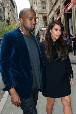 NEW YORK, NY - APRIL 23:  Kayne West and Kim Kardashian seen on the streets of Manhattan on April 23, 2013 in New York City.  (Photo by James Devaney/WireImage)