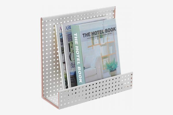Modern Copper and White Wall-Mounted Magazine Rack