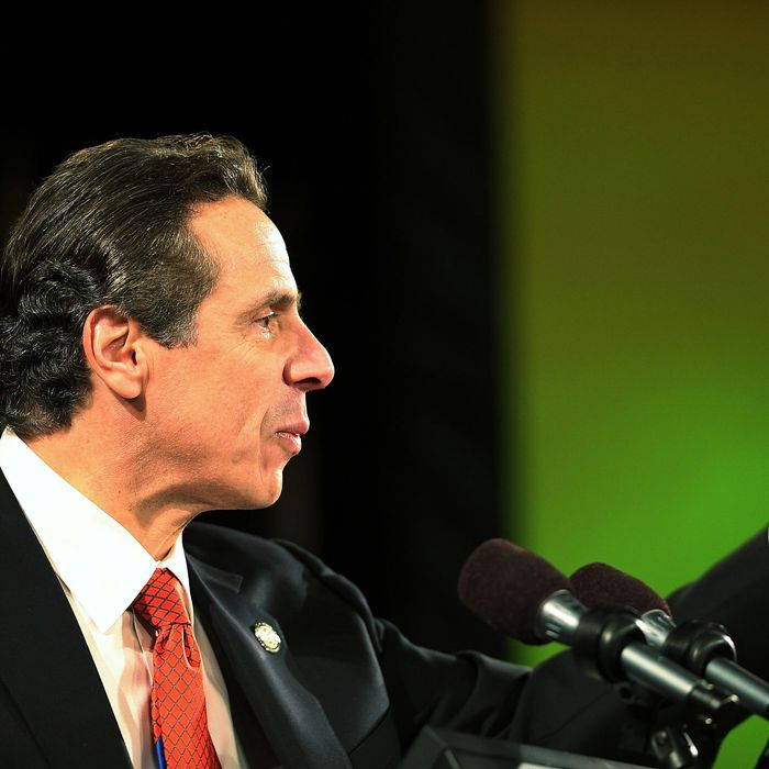 New York State Governor Andrew Cuomo gives his fourth State of the State address on January 8, 2014 in Albany, New York.
