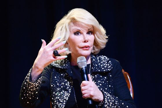 LOS ANGELES, CA - JUNE 20:  TV personality Joan Rivers performs onstage at An Evening With Joan Rivers at American Jewish University on June 20, 2013 in Los Angeles, California.  (Photo by Michael Kovac/WireImage)
