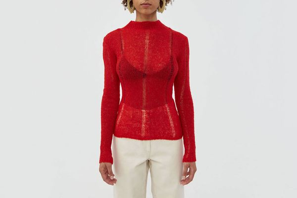 Our Legacy Slim Turtleneck in Red Airwool