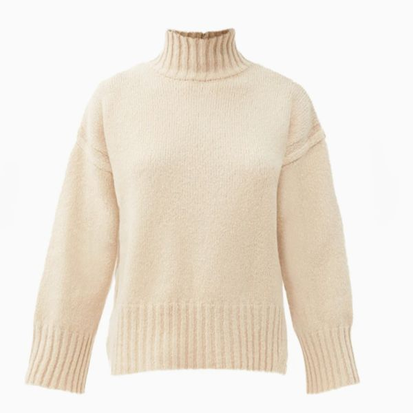 Frame Split Hem Brushed Wool Blend Sweater