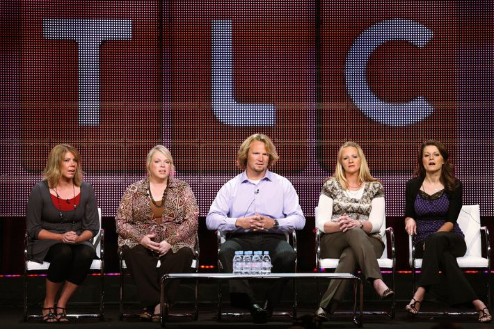 "BEVERLY HILLS, CA - AUGUST 06:  TV personalities Meri Brwon, Janelle Brown, Kody Brown, Christine Brown and Robyn Brown speak duinrg the ""Sister Wives"" panel during the Discovery Communications portion of the 2010 Summer TCA pres tour held at the Beverly Hilton Hotel on August 6, 2010 in Beverly Hills, California.  (Photo by Frederick M. Brown/Getty Images)"