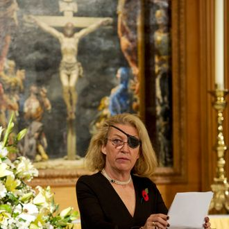 Marie Colvin of The Sunday Times, gives the address during a service at St. Bride's Church November 10, 2010 in London, England. The service commemorated journalists, cameramen and support staff who have fallen in the war zones and conflicts of the past decade. LONDON - NOVEMBER 10: Marie Colvin of The Sunday Times, gives the address during a service at St. Bride's Church November 10, 2010 in London, England. The service commemorated journalists, cameramen and support staff who have fallen in the war zones and conflicts of the past decade. (Photo by Arthur Edwards - WPA Pool/Getty Images) *** Local Caption *** Marie Colvin