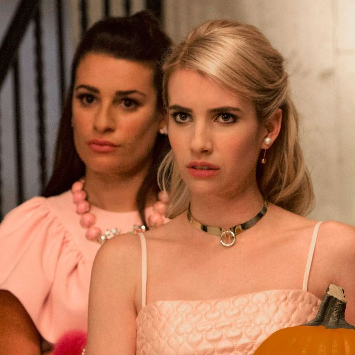 SCREAM QUEENS: Pictured L-R: Billie Lourd as Chanel #3, Lea Michele as Hester, Emma Roberts as Chanel Oberlin and Jeanna Han as Sam in the