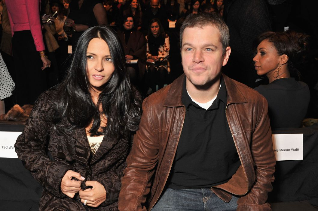 Luciana Barroso and actor Matt Damon attend the Naeem Khan Fall 2012 fashion show