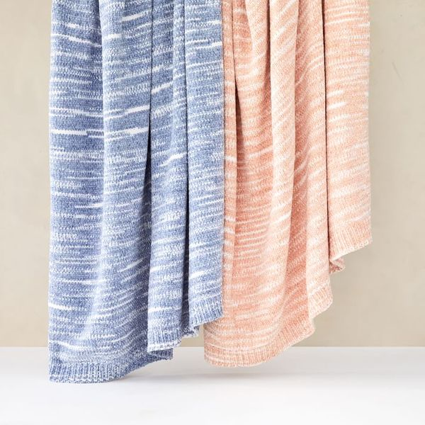 West Elm Marled Luxe Chenille Throw (Blush)