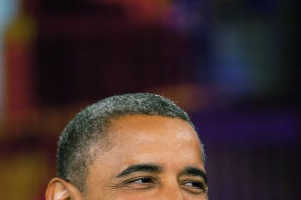 U.S. President Barack Obama smiles while on the set of The View on ABC-TV September 24, 2012 in New York City. Obama is in New York to attend the United Nations General Assembly.