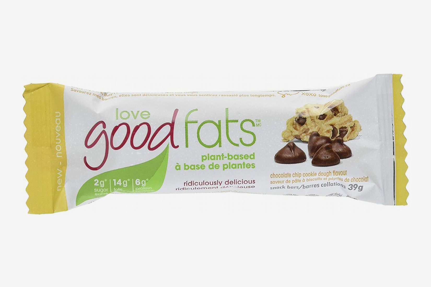 Love Food Fats Plant-Based Bars, Chocolate Chip Cookie Dough - Box of 12
