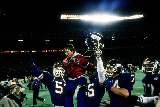 11 Jan 1987: General view of members of the New York Giants as they celebrate following the NFC Championship game against the Washington Redskins in Giants Stadium at the Meadowlands in East Rutherford, New Jersey. The Giants won the game 17-0.