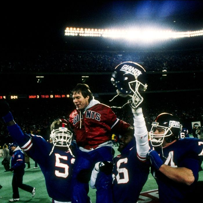 The New York Giants celebrate following the NFC Championship game against the Washington Redskins in Giants Stadium aon JAnuary 11, 1987.