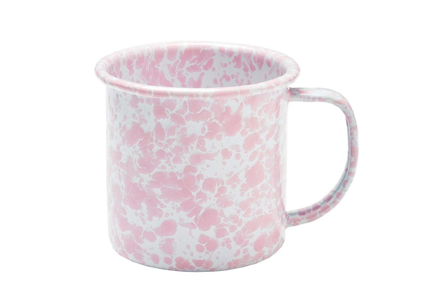 Enamelware Coffee Mug — Pink Marble