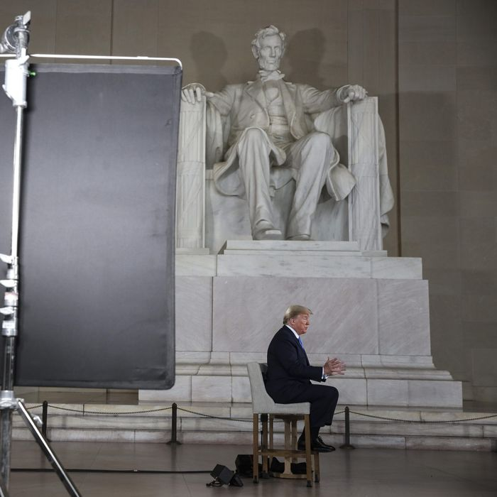 President Trump at the Lincoln Memorial.