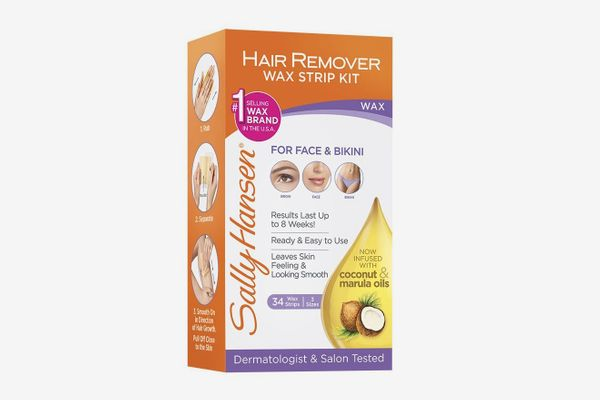 Sally Hansen Hair Remover Wax Strip Kit for Face, Brows & Bikini, 34 Strips (17- Double Sided Strips)