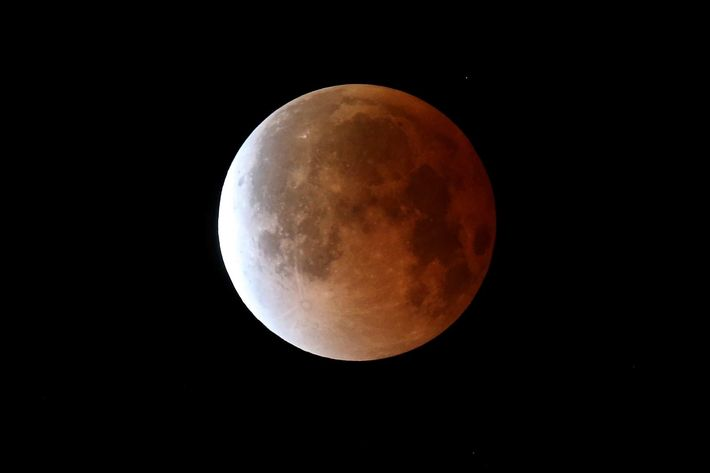 MIAMI, FL - APRIL 15:  The moon is seen during a total lunar eclipse on April 15, 2014 in Miami, Florida. People in most of north and south America should be able to witness this year's first total lunar eclipse, which will cause a 'blood moon' and is the first of four in a rare Tetrad of eclipses over the next two years.  (Photo by Joe Raedle/Getty Images)