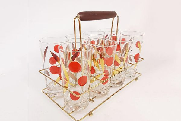 Vintage Cherry-and-Gold-Leaf Highball Glass (Set of 8)
