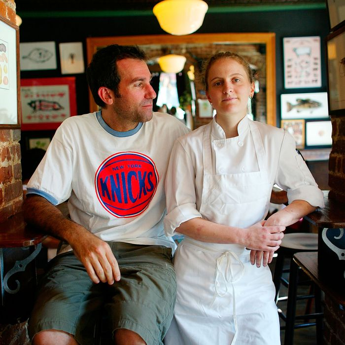 Friedman and Bloomfield in 2004, just after they opened the Spotted Pig.