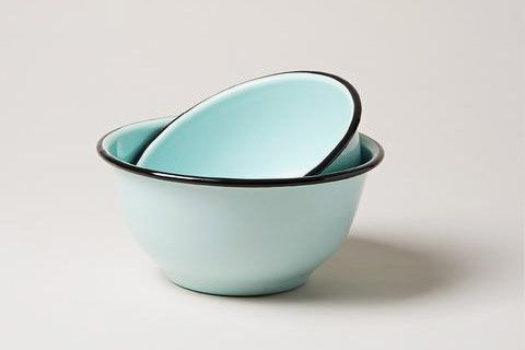 Seafoam Enamel Utility Bowls