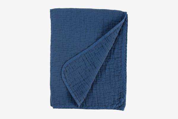 "Stone & Beam Locklar Pick-Stiched Blanket, 80"" x 60"", Navy"