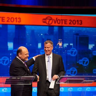 NEW YORK, NY - OCTOBER 15: New York City Democratic mayoral candidate Bill de Blasio, right, and Republican mayoral candidate Joe Lhota shake hands at the conclusion of their first televised debate at WABC/Channel 7 studios on October 15, 2013 in New York City. The debate, the first of three before the November 5th general election, was hosted by the New York Daily News, WABC-TV, Noticias 41 Univision and the League of Women Voters. (Photo by James Keivom-Pool/Getty Images)