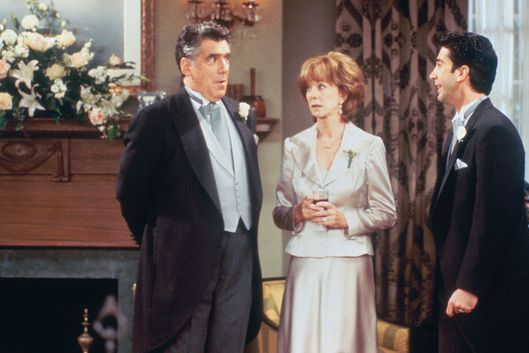 "FRIENDS -- ""The One After Ross Says Rachel"" Episode 1 -- Pictured: (l-r) Elliott Gould as Jack Geller, Christina Pickles as Judy Geller, David Schwimmer as Ross Geller -- Photo by: J. Delvalle/NBCU Photo Bank"