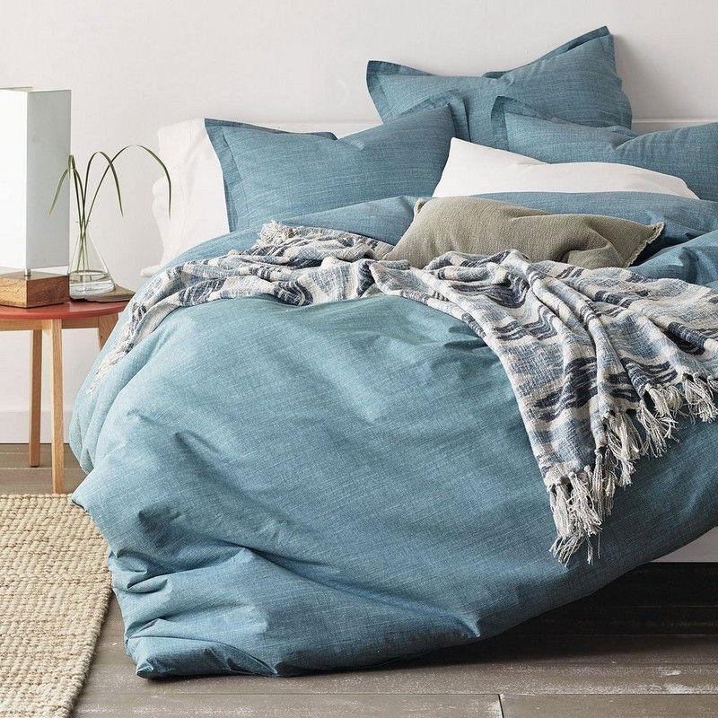 Cstudio Home Canvas Percale Duvet Cover in Blue (Full)