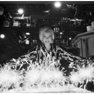 American actress Marilyn Monroe (1926 - 1962) celebrates her birthday with cake and sparklers during the filming of 'Something's Got to Give' (directed by George Cukor), Los Angeles, California, June 1, 1962. This was Monroe's last day on the set before she was fired. (Photo by Lawrence Schiller/Polaris Communications/Getty Images)