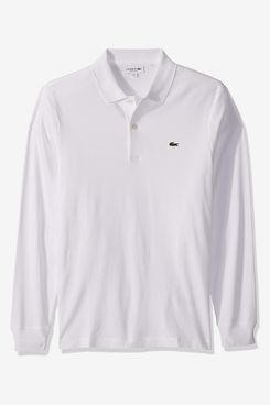 Lacoste Mens Long Sleeve Interlock Pima Regular Fit Polo Shirt, White