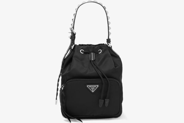 Prada Vela stud-embellished leather-trimmed shell tote