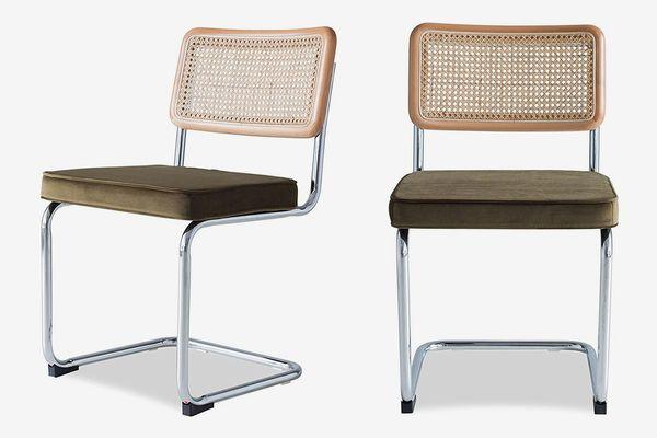 Edloe Finch Set of 2 Mid-Century Modern Dining Room Chairs Velvet Cushions
