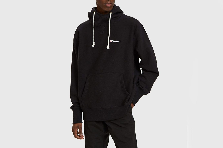 Champion Reverse Weave Deconstruction Hooded Sweatshirt in Black