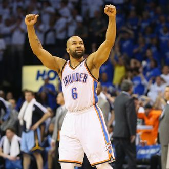 OKLAHOMA CITY, OK - APRIL 21: Derek Fisher #6 of the Oklahoma City Thunder in Game Two of the Western Conference Quarterfinals during the 2014 NBA Playoffs at Chesapeake Energy Arena on April 21, 2014 in Oklahoma City, Oklahoma. NOTE TO USER: User expressly acknowledges and agrees that, by downloading and or using this photograph, User is consenting to the terms and conditions of the Getty Images License Agreement. (Photo by Ronald Martinez/Getty Images) *** Local Caption *** Derek Fisher