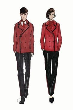 Jaeger's design sketches, courtesy of 'Vogue' UK