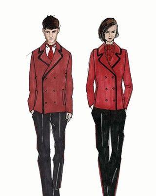 Jaeger's design sketches, courtesy of 'Vogue' UK