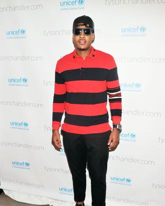 NBA basketball player Carmelo Anthony attends the