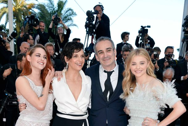 "(L-R) Actresses Kristen Stewart, Juliette Binoche, director Olivier Assayas and Chloe Grace Moretz attend the ""Clouds Of Sils Maria"" premiere during the 67th Annual Cannes Film Festival on May 23, 2014 in Cannes, France."