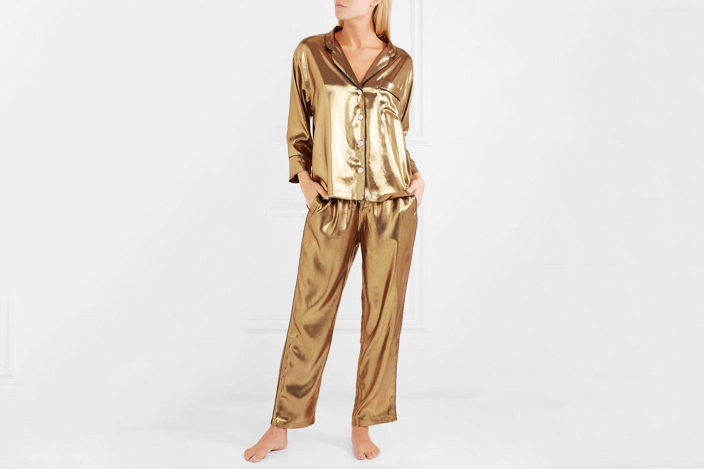 Sleepy Jones Gold Pajama Top
