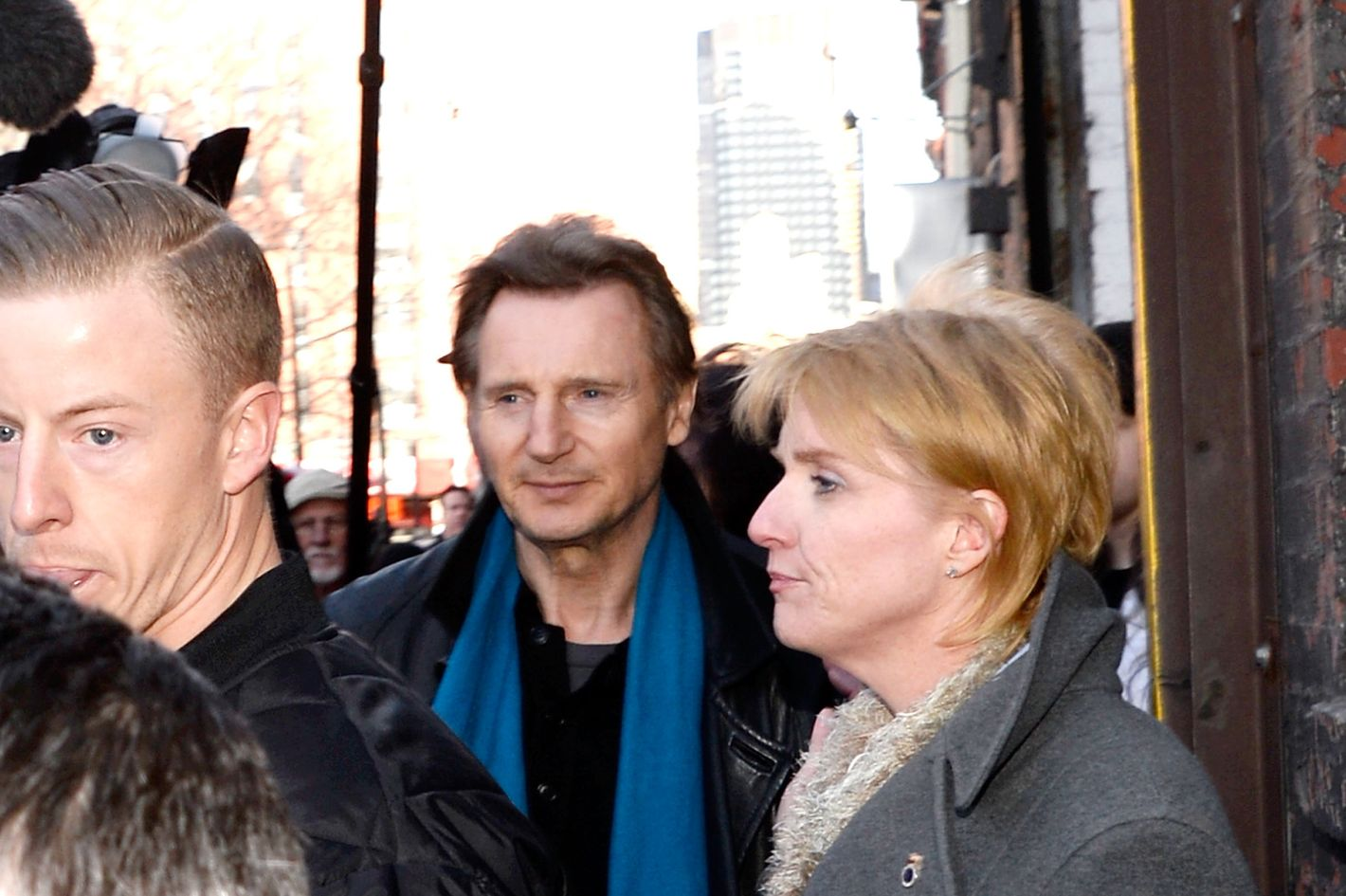 NEW YORK, NY - MARCH 09:  Actor Liam Neeson (C) visits Clinton Park Horse Stables on March 9, 2014 in New York City.  (Photo by Ben Gabbe/Getty Images)