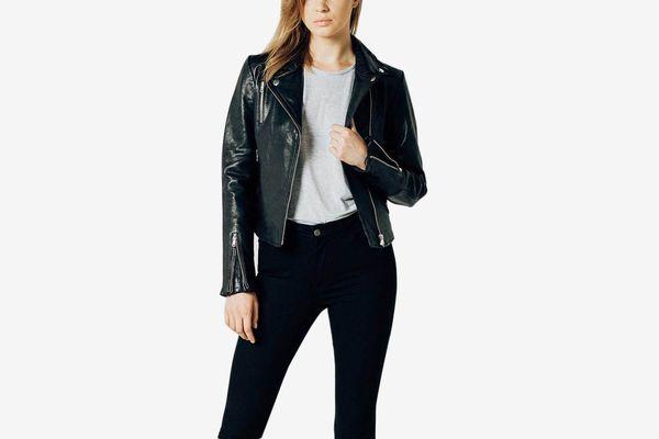 DSTLD Womens Leather Moto Jacket