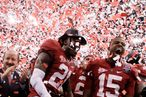 Dre Kirkpatrick #21 and Darius Hanks #15 of the Alabama Crimson Tide celebrate after defeating Louisiana State University Tigers in the 2012 Allstate BCS National Championship Game