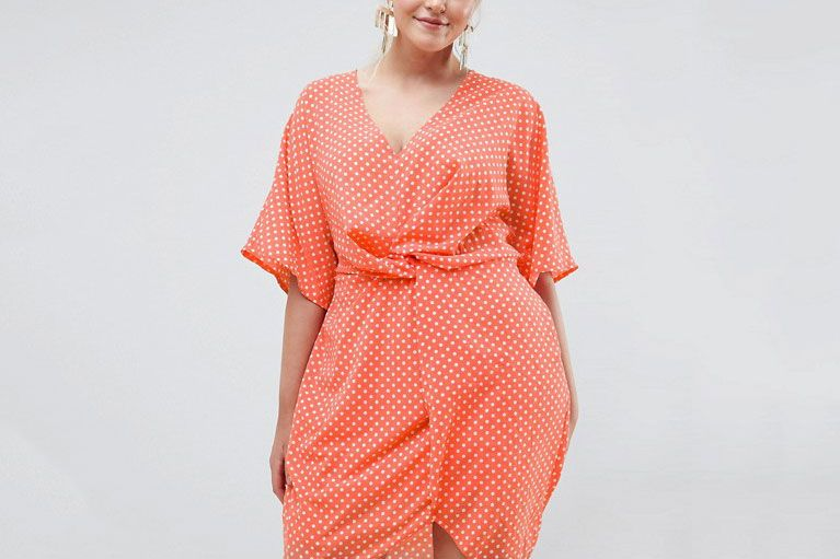 9f7eea24a32c Missguided Plus Twist Front Polka Dot Dress