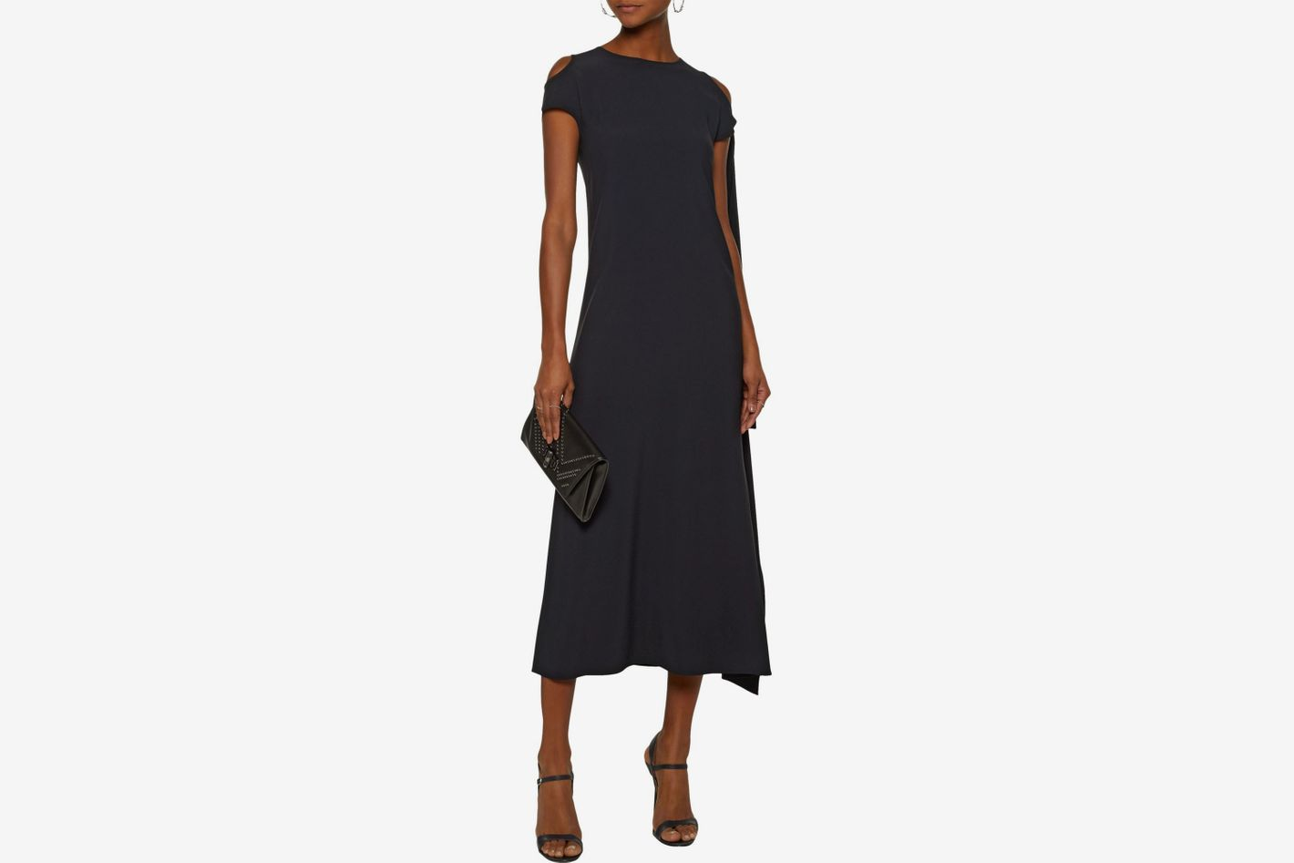 HELMUT LANG Silk-trimmed draped crepe maxi dress