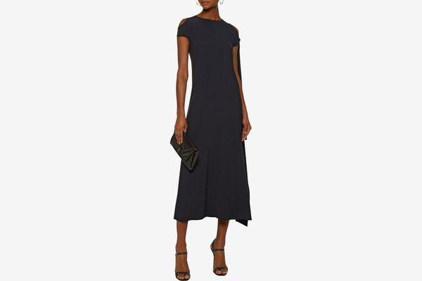 HELMUT LANG Silk-trimmed draped crepe maxi dress