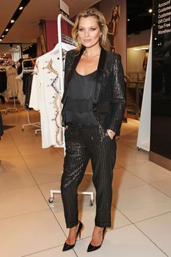 Kate Moss attends the VIP preview of the Kate Moss For TopShop collection at the TopShop London Flagship store on April 29, 2014 in London, England.