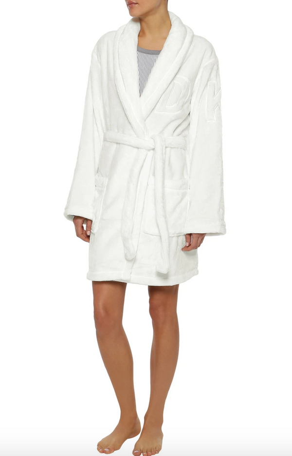 DKNY Ivory Embroidered Fleece Robe