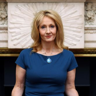 British author J K Rowling poses after she received the Freedom of the City of London, at the Mansion House in London, Britain, 08 May 2012. Reports state that Rowling was awarded for services to children's literature.